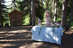 Wedding cake display in front of wooden hut in the forest