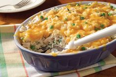 The tasty casserole gets revamped with rice and a cheesy cheddar topping. You'll get it on the table fast, too—perfect for weeknights.