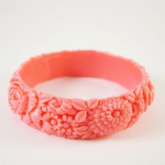 Dark Vintage Pink Resin Floral Bracelet by themobyduck on Etsy, $28.00