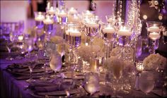 Candles Candles Candles! table settings, wedding receptions, wedding reception tables, floating candles, candle holders, candle centerpieces, wedding reception decorations, wedding centerpieces, silver weddings