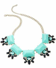 Bar III Gold-Tone Blue Stone Cluster Statement Necklace - Statement Necklaces - Jewelry & Watches - Macy's