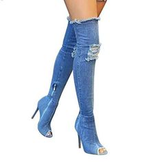 Trendy open toe knee high elastic denim boot. Available in 4 colors.