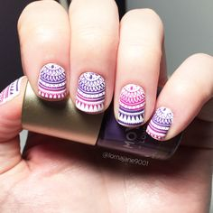 Gradient mandala nail art this week. Had to cut them all down :-( but I do like to start again sometimes :-) base coat using @barrymcosmetics 'cotton' and stamping polishes from @moyou_london 'purple rain' & 'party pink'. #MoyouLondon stamping plate 'mandala collection 07'.