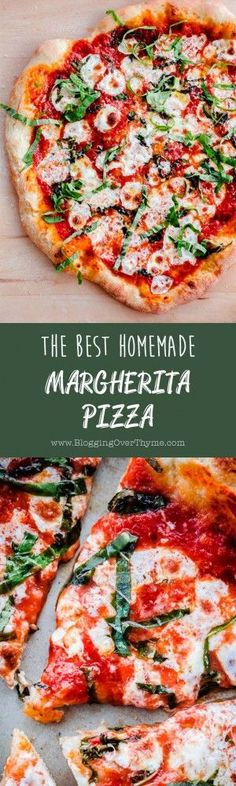 The BEST Homemade Margherita Pizza. Made in a standard kitchen oven! #margheritapizza #homemadepizza #abeautifulplate