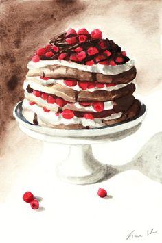 Chocolate Raspberry Layer Cake Watercolor Painting