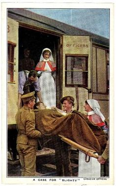ww1 postcard titled A CASE FOR BLIGHTY