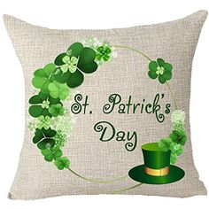 Happy green St. Patrick's day clover green hat Throw Pillow Cover Cushion Case Cotton Linen Material Decorative 18x18 inches >>> Check this awesome product by going to the link at the image. (This is an affiliate link) #HomeDcor