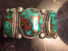 Vintage Navajo CALVIN MARTINEZ (signed) Turquoise Sterling Silver Bracelet  #Handmade