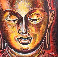 """Buddha 36x36"""" oil on canvas by drago milic"""