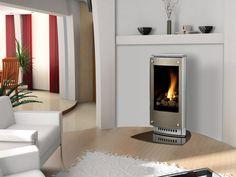 """White Life"" ©: Februar 2013.  Modern Self Standing & Self Ventilating Fireplace (heater)."