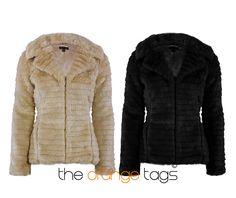 NEW LADIES THIN STRIPE SOFT FAUX FUR WARM JACKET WOMENS WINTER COAT