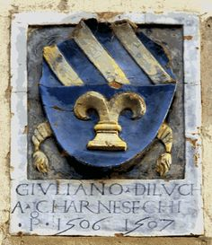Stemma dei Carnesecchi sul palazzo del Podesta'  a Galluzzo (Opera del DELLA ROBBIA).