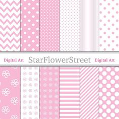Pink Baby Girl Patterns Digital Paper  por StarFlowerStreetDA