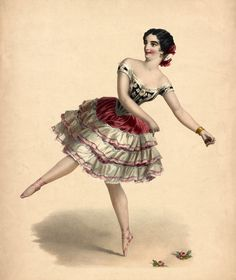 Vintage Ballerina with Roses Image