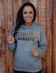 Stay warm and comfy in this grey Texas State hoodie. Go BOBCATS!