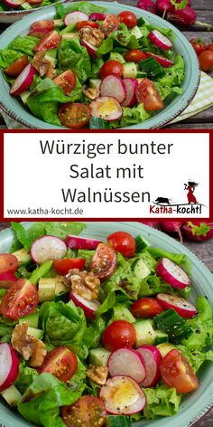 Würziger bunter Salat mit Walnüssen Fresh and crispy - my spicy, colorful salad with walnuts is perfect for all salad fans. Whether for lunch in the office or as a light dinner on the terrace - the un Salad Recipes Healthy Lunch, Salad Recipes For Dinner, Chicken Salad Recipes, Easy Healthy Recipes, Meat Recipes, Salads For A Crowd, Easy Salads, Mediterranean Quinoa Salad, Creamy Cucumber Salad