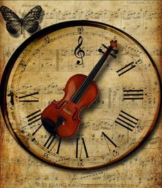 Awesome Music Clock Tells Music Time… Sound Of Music, Music Is Life, Musica Celestial, Violin Art, Cello, Violin Music, Music Music, Images Vintage, Vintage Pictures
