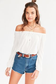 Ecote Cooper Off-The-Shoulder Top with jeans, belt and boho layered necklaces