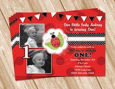 Photo Ladybug Birthday Invitation for Girl by KreatedbyKristine