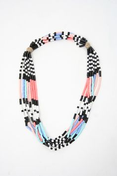 Christy Curcuru Double Knot Black And Pastel Necklace - for sale at Beklina Diy Jewelry, Jewelery, Handmade Jewelry, Jewelry Design, Fashion Jewelry, Jewelry Making, Jewelry Box, Beaded Jewelry Patterns, Beading Patterns