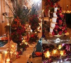 #kfb_events decorating, coordinating, flowers, rentals, catering | Elegant Barn Decor| Altar decor | Jewel Tones | Fall Wedding | Meredith Melody Photography
