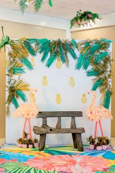Flamingo photo booth from a Tropical Flamingo Paradise Party on Kara's Party Ideas | KarasPartyIdeas.com (5)