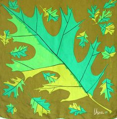Vera ladybug scarf with oversized oak leaves. Green by TimeValley, $18.00
