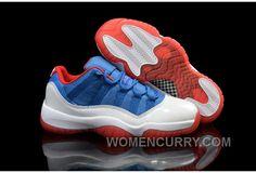 """sale retailer 0e48c d1044 Mens Air Jordan 11 Low """"Knicks"""" White Blue Red For Sale Authentic 6JCFKZ"""