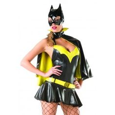 Sexy Batty Crimefighter Womens Halloween Costume Price: $98.00  This 3 piece Batgirl inspired Halloween costume includes the strapless black and yellow mini dress with flared skirt cape and low slung hip belt.  Other items shown are sold separately.  #cosplay #costumes #halloween