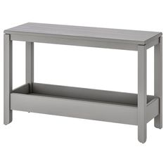 IKEA HAVSTA Console table Grey 100 x 35 x 63 cm Solid pine with crafted details and a brushed surface gives a genuine, sturdy feeling, a timeless look and it will age gracefully. Scandinavian Furniture, Scandinavian Design, Solid Pine, Solid Wood, Storage Shelves, Storage Spaces, Mesa Sofa, Coffee Table Grey, Ikea Usa