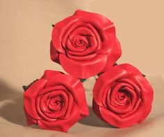 Red Leather Rose Bouquet 3 roses 3rd Anniversary by LeatherNstuff