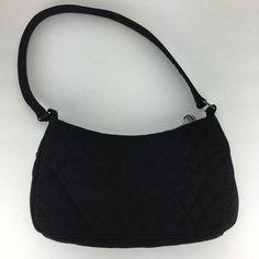 097f23fc1fc1 Vera Bradley Black Quilted Microfiber Shoulder Bag Purse
