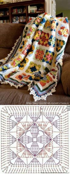 how to make a double folded blanket edge ? the blanket Crochet blanket Beautiful crochet blanket! Crochet blanket - a quieter storm Crochet Afghans, Motifs Afghans, Crochet Quilt, Afghan Crochet Patterns, Crochet Squares, Crochet Home, Love Crochet, Crochet Granny, Crochet Motif