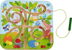HABA Tree Maze Wooden Magnetic Game Develops Fine Motor Skills & Color Recognition with Attached Wand Maze Games For Kids, Puzzles For Toddlers, Kids Travel Games, Kids Toys Online, Diy Magnets, Baby Play, Fine Motor Skills, Toddler Toys, Best Games