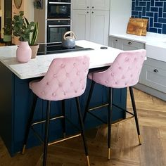 Products Lucia bar stool, velvet upholstery, pink Cult FurnitureCult Furniture The Home Doctor Decoration Restaurant, Restaurant D, Restaurant Interiors, Bar Chairs, Bar Stools, Island Chairs, Home Decor Kitchen, Kitchen Design, Kitchen Interior