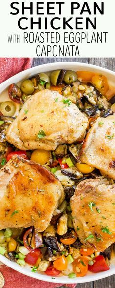 Easy chicken with roasted eggplant caponata! The chicken and eggplant roast together on a sheet pan. The sweet-sour caponata comes together with tomatoes, green olives, celery, and capers. Perfect for cooler weather.
