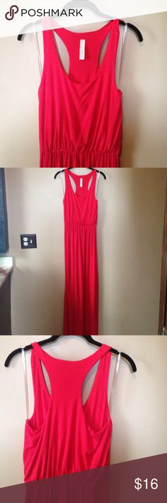 Jolie Red RacerBack Maxi Dress Gorgeous red Maxi!  Soft and comfortable with a racer back.  Preloved, has been washed a few times.  No stains, tears, or flaws. Jolie Dresses Maxi
