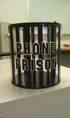 Phone prison - I will have to remember this one, although I hope I don't need this in elementary school Middle School Classroom, Classroom Setting, Highschool Classroom Decor, Future Classroom, School Staff, School Counselor, Decorating High School Classroom, Middle School Choir, Sunday School Rooms