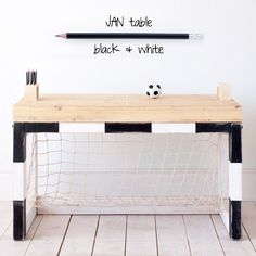 Soccer goal and a desk- might or might not be a good idea.