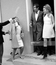 Unidentified friends throw rice at just-wedded French director Roger Vadim and US actress Jane Fonda, 19 Mai 1967 in Saint-Ouen Marchefroy, northwestern France. Roger Vadim Plemiannikov, son of a diplomat, born 26 January 1928 in Paris, director for some 20 films, is mostly remembered for having made actress Brigitte Bardot a star with his feature 'And God created Woman' in 1956 and his work and relationships with actresses Catherine Deneuve and Jane Fonda.