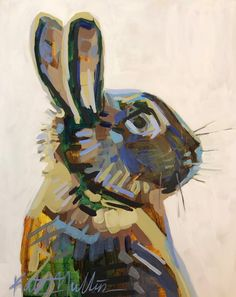 Bunny Painting by Kate Mullin Williford. Small Paintings, Animal Paintings, Bunny Painting, Bug Art, Rabbit Art, Colorful Animals, Abstract Animals, Texture Painting, Watercolor Art