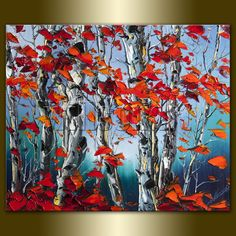 Original Autumn Birch Landscape Painting Oil on Canvas Textured Palette Knife Contemporary Modern Tree Art 20X24 by Willson Lau