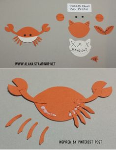 Crab Punch Art. Using Foxy Friends Stamp Set and Foxy Builder Punch from Stampin' Up!