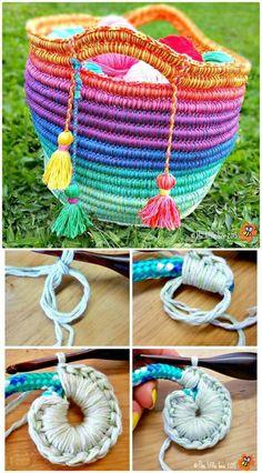 25 Free Crochet Rainbow Patterns for Beginners Free Crochet Ropey Rainbows Pattern – 25 Free Crochet Rainbow Patterns for Beginners – 101 Crochet Beginner Crochet Tutorial, Crochet Stitches For Beginners, Crochet Stitches Patterns, Knitting For Beginners, Knitting Patterns, Blanket Patterns, Crochet Designs, Crochet Gratis, Crochet Geek