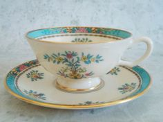 Art Deco Teacup and Saucer Vintage Blue Tree by SwirlingOrange11, $35.00