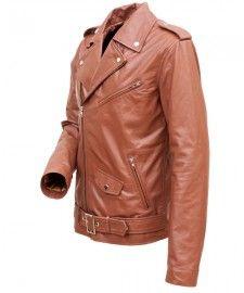 Brown Mens Leather Biker Jacket BK