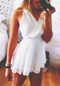 White Plain Ruffle Cross-over Neckline Chiffon Dress