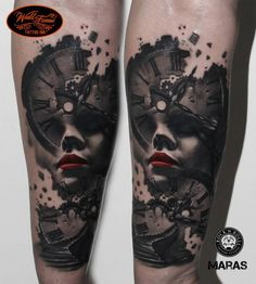 Clock tattoos can be surrealistic too. Here by Maras.