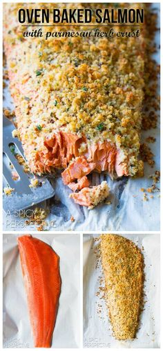 6-Ingredient Oven Baked #Salmon with Parmesan Herb Crust on ASpicyPerspective...