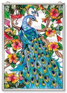 Amazon.com - Amia Window Decor Panel Featuring a Peacock Design, Hand Painted Glass, 11-Inch by 15-Inch - Home Decor Accents